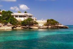 Life of Luxury on Antigua. Beautiful waterfront home on the Caribbean island of Antigua stock image