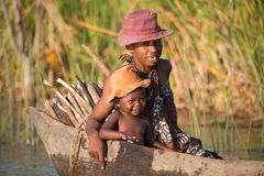 Life in madagascar countryside on river Royalty Free Stock Photo