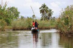 Life in madagascar countryside on river Stock Photo