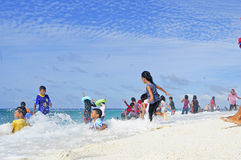 The life on the Maldives Beaches, Royalty Free Stock Images