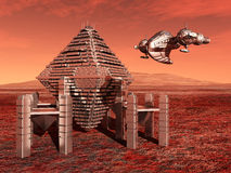 Life on the Mars. Computer generated 3D illustration with a Space Station and a Spaceship on the Mars Stock Photo