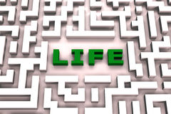 Life in a maze - 3D image. Lost in the maze of life, 3D concept image stock illustration