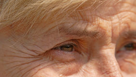 Life memories. Close-up image of a senior woman eye Stock Photo