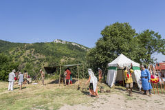 Life in the Middle Ages. ASENVOGRAD, BULGARIA - JUNE 25, 2016 - Medieval fair in Asenovgrad recreating the life of Bulgarians during the Middle ages stock photo