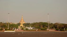 Life in the morning of Burmese at the the east gate of Shwedagon pagoda stock video footage