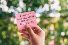 Free Life Motivational And Inspirational Quotes - A Negative Mind Will Never Give You A Positive Life Stock Photo - 155840330