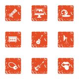 Life of musician icons set, grunge style. Life of musician icons set. Grunge set of 9 life of musician vector icons for web isolated on white background stock illustration
