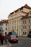 Prague, Czech Republic, January 2015. Daily life on the old city street. stock images