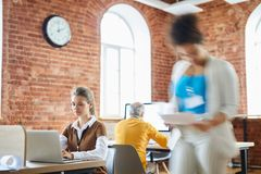 Life in open space office royalty free stock photography