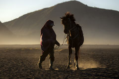 Life of People and Horse in Bromo Royalty Free Stock Images