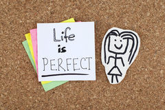 Life is perfect inspirational positive note Stock Photos