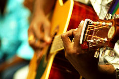 Life performance of guitarist on the stage Stock Image
