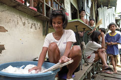 Daily life in Philippine slum, city Manila Royalty Free Stock Photos