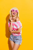 Life through pink glasses Stock Images