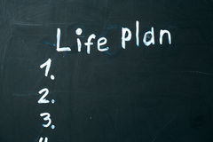 LIFE PLAN phrase written in chalk on the blackboard. Royalty Free Stock Photography