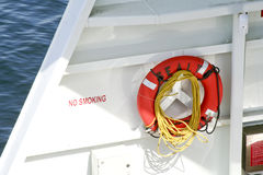 Life preserver. Hanging on a boat wall Royalty Free Stock Photos