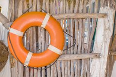 Life Preserver. For first help at a Castaway shack in Mexico Royalty Free Stock Photography