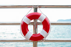 Life preserver. Attached to the cruise ship Stock Image