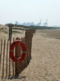 Life preserver on beach in crosby near liverpool Stock Image