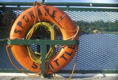 Life preserver on board ferry to Bainbridge Island, WA Stock Photo