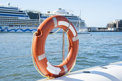Life preserver. A life preserver on a boat Stock Photo