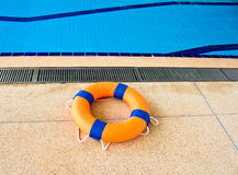 Life preserver floating Stock Photo
