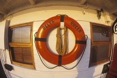 A life preserver on the front of the cabin of the Delta Queen, a relic of the steamboat era of the 19th century, Mississippi River Royalty Free Stock Image