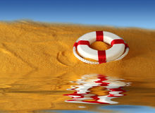 Life preserver for help. Life preserver for first help on blue water background Stock Image