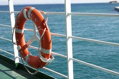 Life Preserver On A Ferry Boat Stock Photo