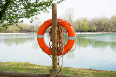 Life preserver, orange life buoy. Lifeguard equipment , life preserver, orange life buoy Royalty Free Stock Images