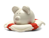 Life Preserver and Piggy Bank Royalty Free Stock Photography