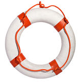 Life preserver with red rope. Clean white life ring, lifesaver or life preserver with red rope for a drowning person to grab isolated on a white background Stock Photos