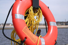 Life Preserver / Rescue Ring. Water Rescue, Life Preserver Ring on Lake Michigan Pier Stock Photo
