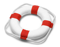 Life Preserver. With Rope Isolated on White Background Royalty Free Stock Photography