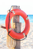 Life preserver on sandy beach. Somewhere in Mexico Royalty Free Stock Photography