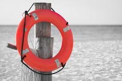 Life preserver on sandy beach Stock Photography