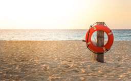 Life preserver on sandy beach Stock Image