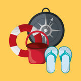 Life preserver with vacation travel icons image. Flat design life preserver with vacation travel icons image vector illustration Stock Photos