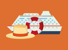 Life preserver with vacation travel icons image. Flat design life preserver with vacation travel icons image vector illustration Royalty Free Stock Photography