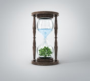 Life process of tree inside Glass clock, Stock Photography