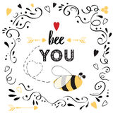 Life quote Be you with bee, hearts and ornate Stock Image