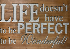 Life Quote on wooden sign. Stock Photo