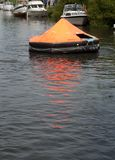 Life Raft. Practice outdoors in a river in Ribe, Denmark Stock Photography