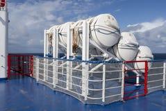 Life raft emergency equipment ship boat Stock Photo