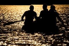 Life raft sunset Stock Photo
