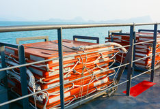 Life rafts on ferry boat Stock Photo