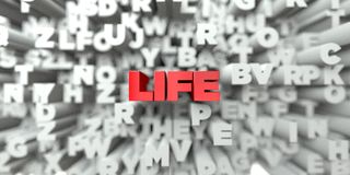 LIFE -  Red text on typography background - 3D rendered royalty free stock image Stock Images