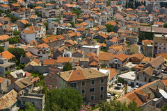 Life of the red tile roofs of Sibenik Royalty Free Stock Image