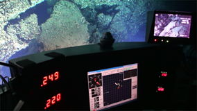 Life of reefs coral deep sea view from submarine in 300 m depth Pacific Ocean. stock video