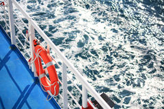Life Ring. Orange life ring on a boat Stock Photography